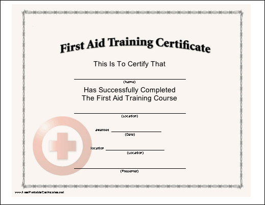 This certificate, with a red cross seal, certifies the