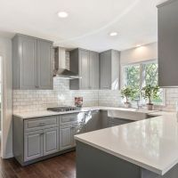Gray shaker cabinets, white quartz counter tops, Grecian ...