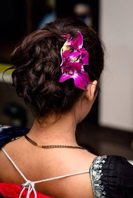 South Indian Bridal Reception Hairstyle Hair Bun With Orchids