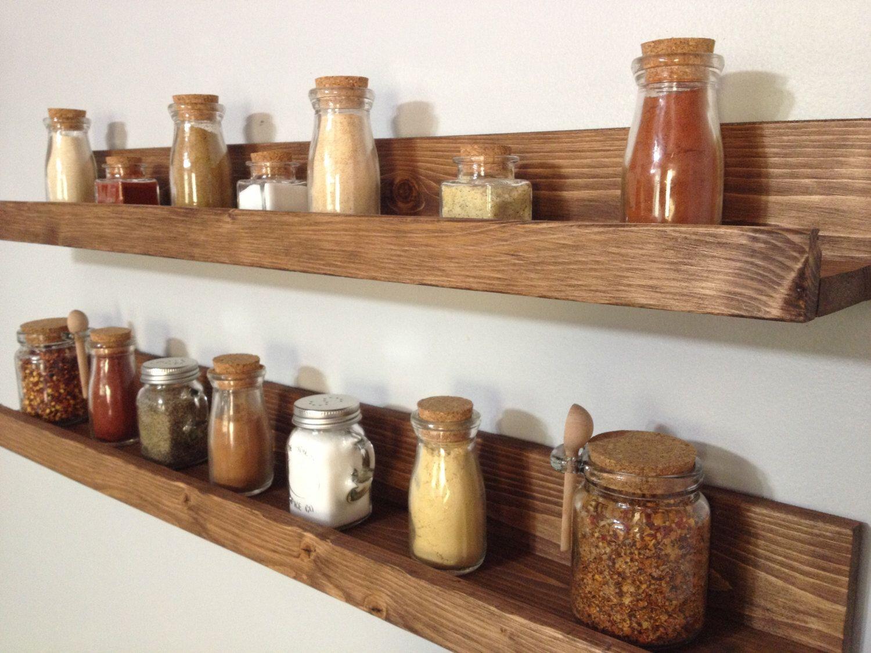 Rustic Wooden Spice Rack Ledge Shelf, Ledge Shelves