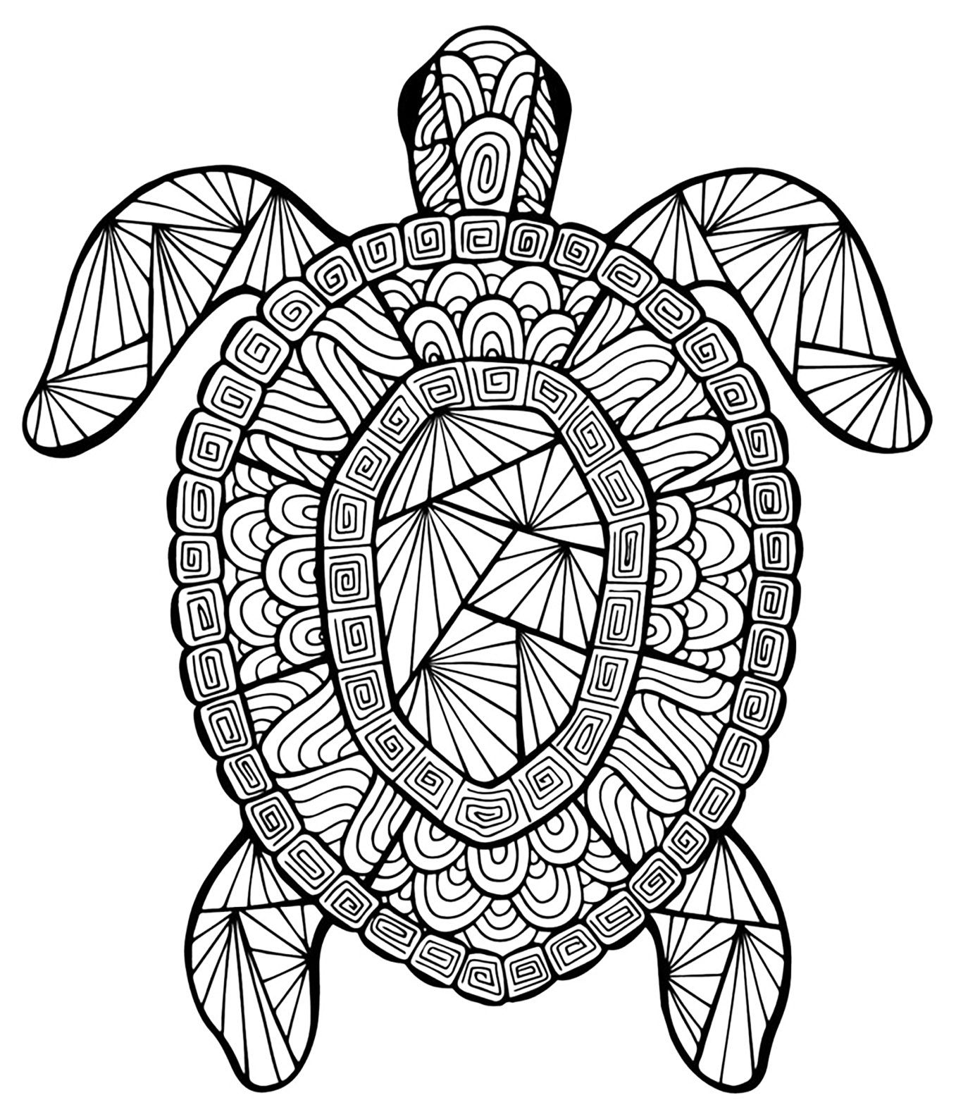 Color this incredible turtle | From the gallery : Animals ... | mandala coloring pages for adults animals