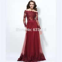 Online Buy Wholesale maroon lace long sleeves prom dress ...