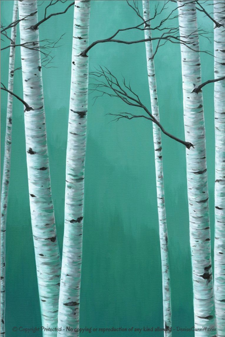 Teal wall art Birch tree painting Canvas PRINT set