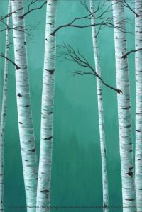 Teal wall art Birch tree painting Canvas PRINT set |  ...