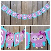 IT'S A GIRL Owl banner, purple blue owl banner, baby ...
