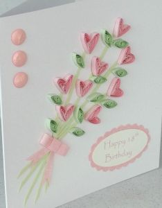 Handmade th birthday card quilled flowers quilling greeting via etsy also rh pinterest
