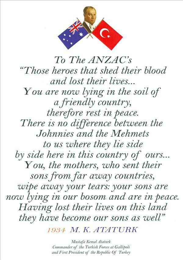 Mustafa Ataturk's famous letter to honour Anzac diggers