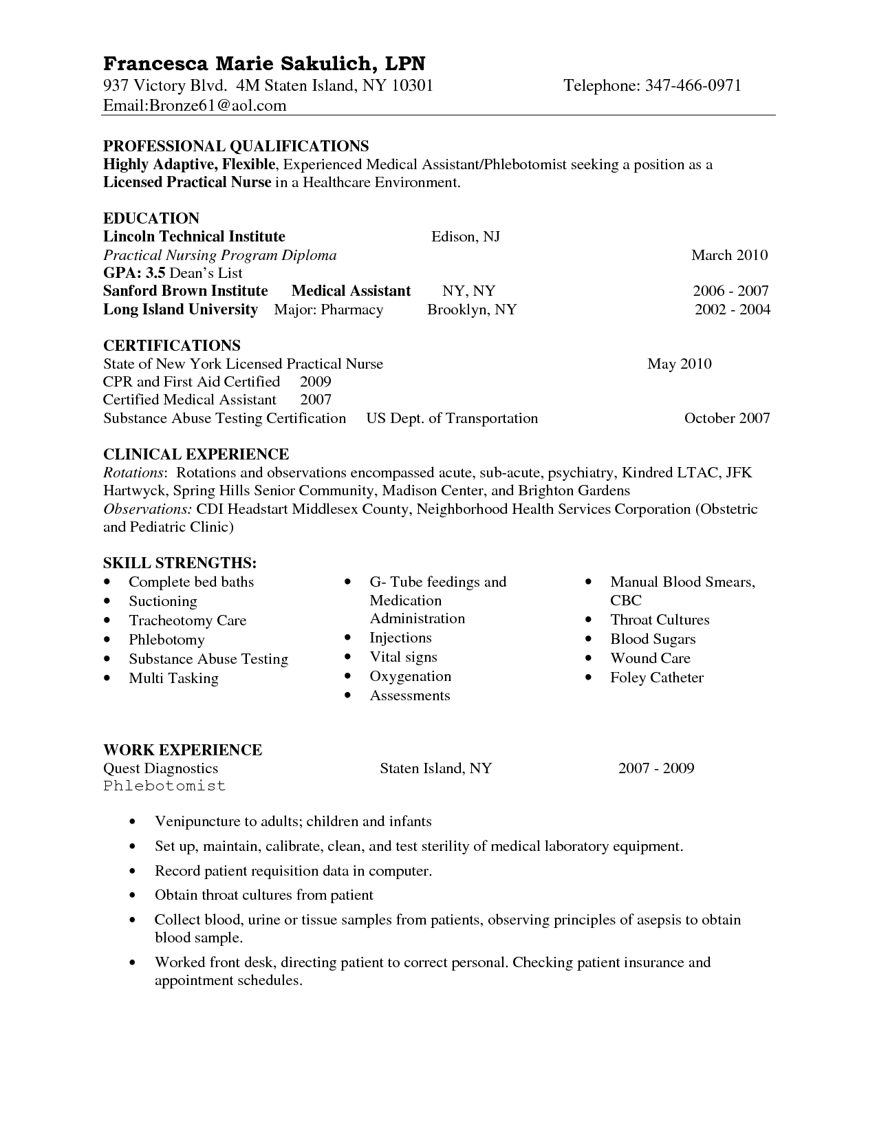 Nurse Resume Skills Entry Level Lpn Resume Sample Nursing Pinterest