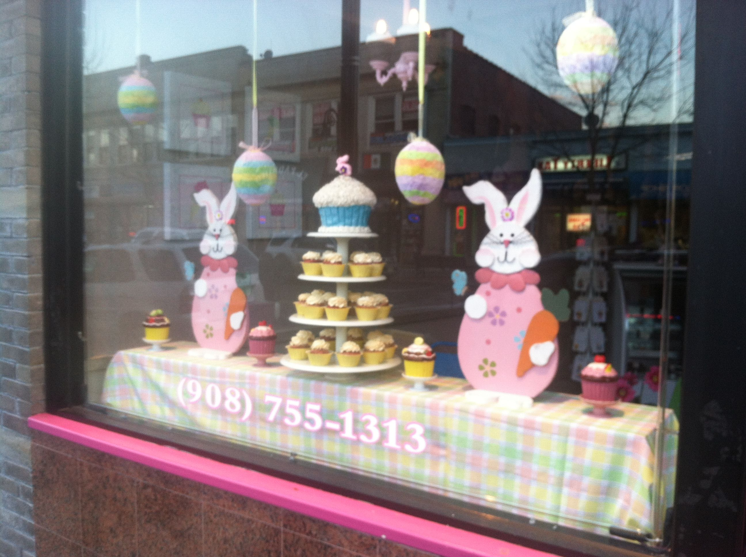 LiVay Sweet Shop Easter Pink Cupcake Bakery Window Display