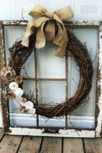 Old window frame from junk yard, hobby lobby wreath.. Hot ...