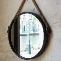Antiqued Black Round Hanging Rope Mirror | Hanging rope ...
