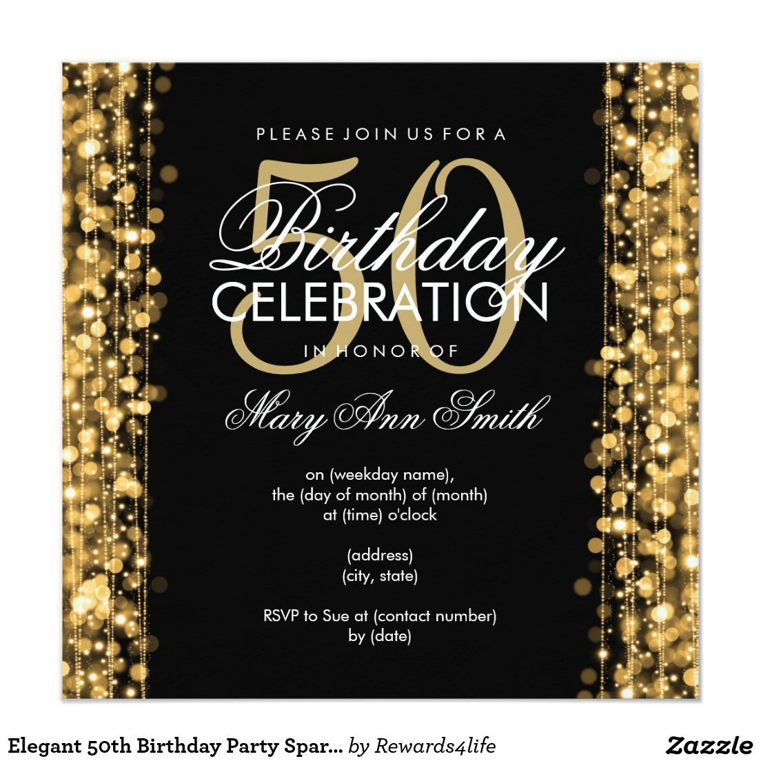 50 Birthday Celebration Party Invitations