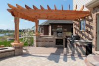 Fascinating Outdoor Kitchen Design Under Wooden Canopy As
