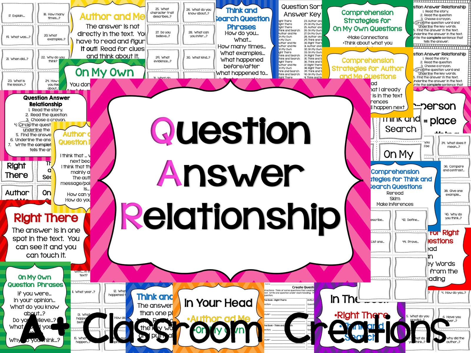 Qar Question Answer Relationship Anchor Charts Book Marks And Questions To Sort
