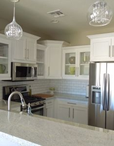Granite color is kashmir white cabinets appliances are all lg faucet from home depot glass bubble pendant lights over island subway tile with also  have decided to start sharing progress photos of the rooms in rh za pinterest
