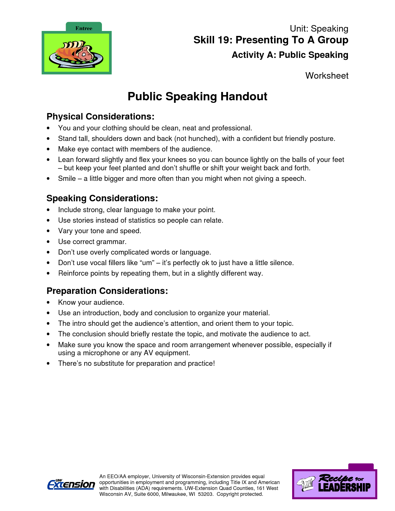 Public Speaking Worksheets