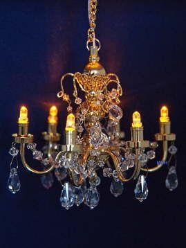 Dollhouse Miniature Battery Led Chandelier