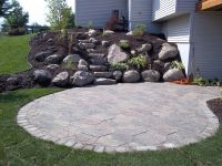 Fieldstone Patio, Boulder Outcropping Wall and Steps ...
