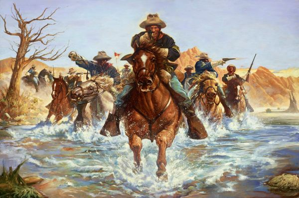 Buffalo Soldier River Crossing Black History Painting