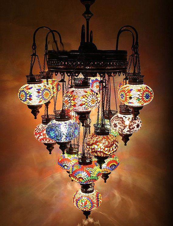 21 Ball 110 230v Extra Large Turkish Moroccan Hanging Glass Mosaic Chandelier Lamp Lighting On