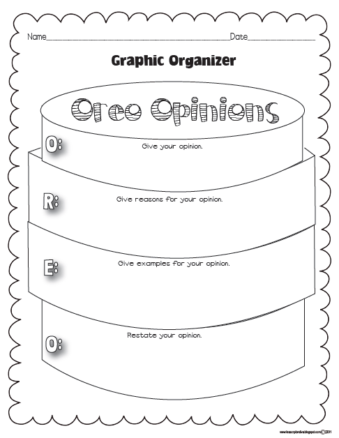 I like this graphic organizer for opinion writing because