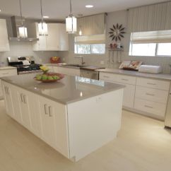 Inexpensive Countertops For Kitchens Glass Inserts Kitchen Cabinets White With Light Grey | Colored ...
