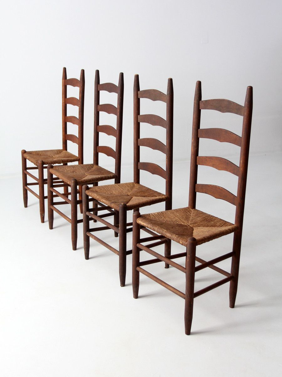 Antique ladder back chairs with rush seat  Antiques