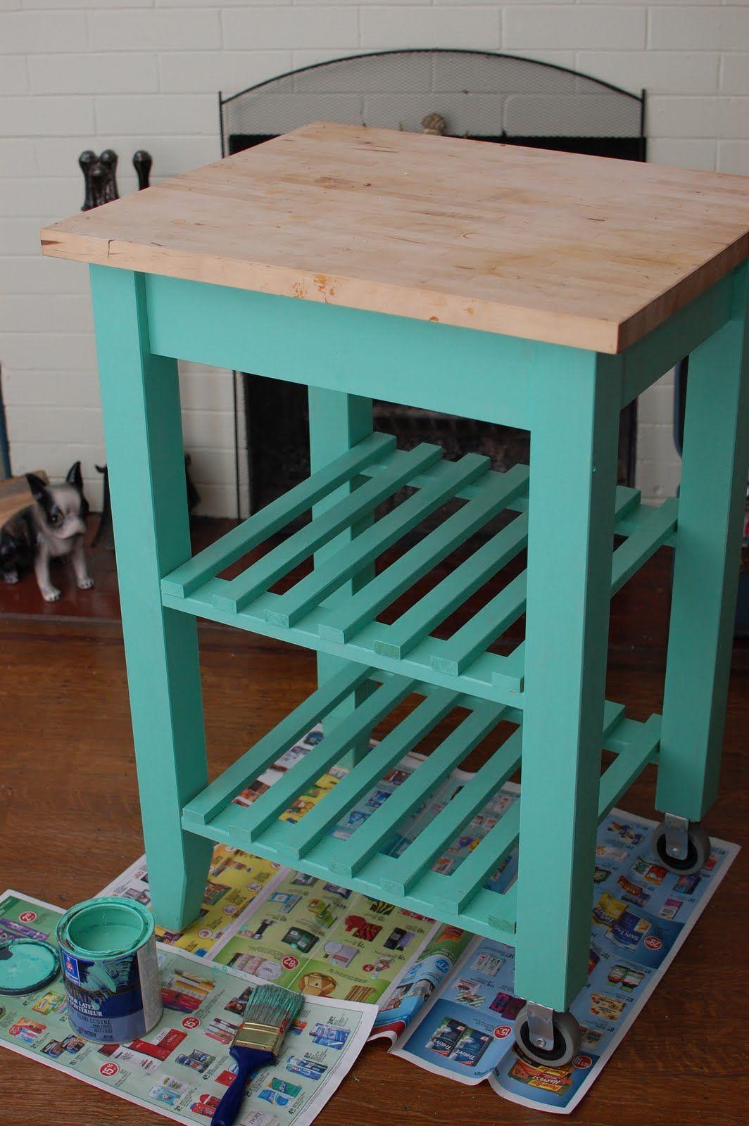 ikea kitchen cart painted aqua