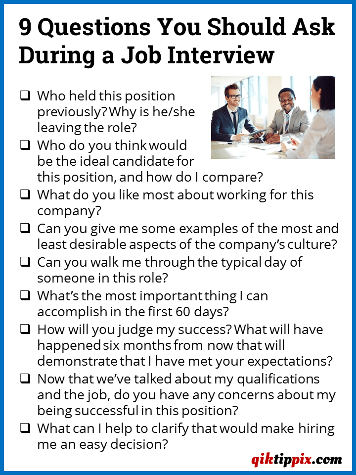Asking Questions During The Job Interview Process Signals To Employers That You're A More