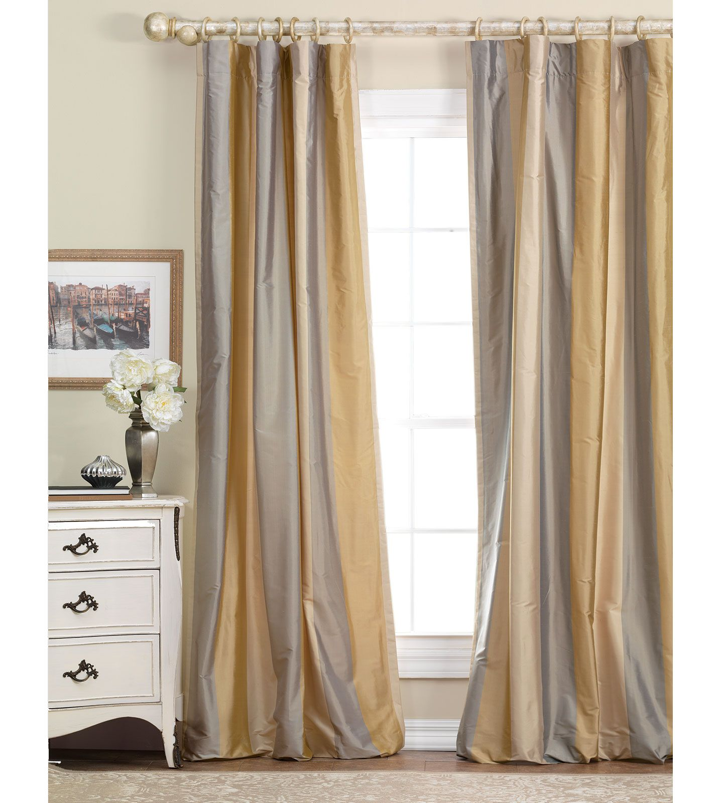 Gold And Gray Silk Curtains Luxury Bedding By Eastern Accents