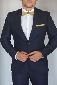 Navy Blue Suit with Gold Bow-Tie | prom | Pinterest | Gold ...
