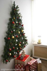 DIY wall mounted Christmas tree with pine garlands - space ...