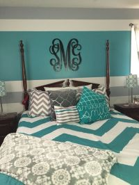Turquoise, gray, and white teen bedroom. My daughter