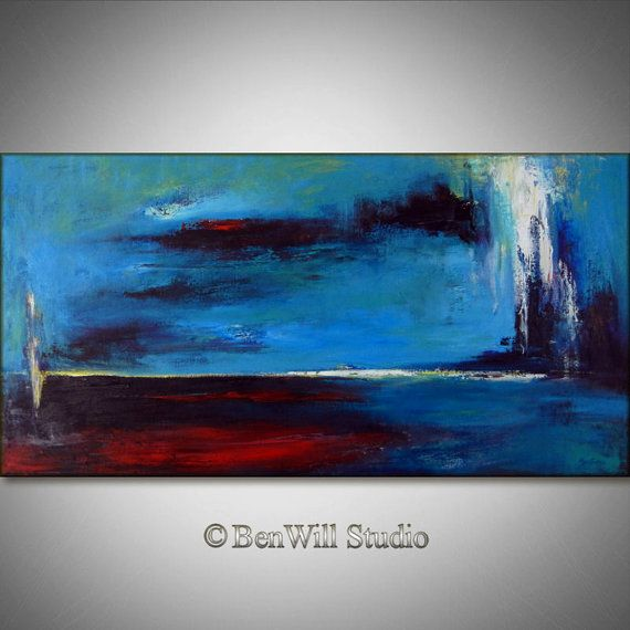 Artwork large modern wall decor abstract also painting turquoise red original rh pinterest
