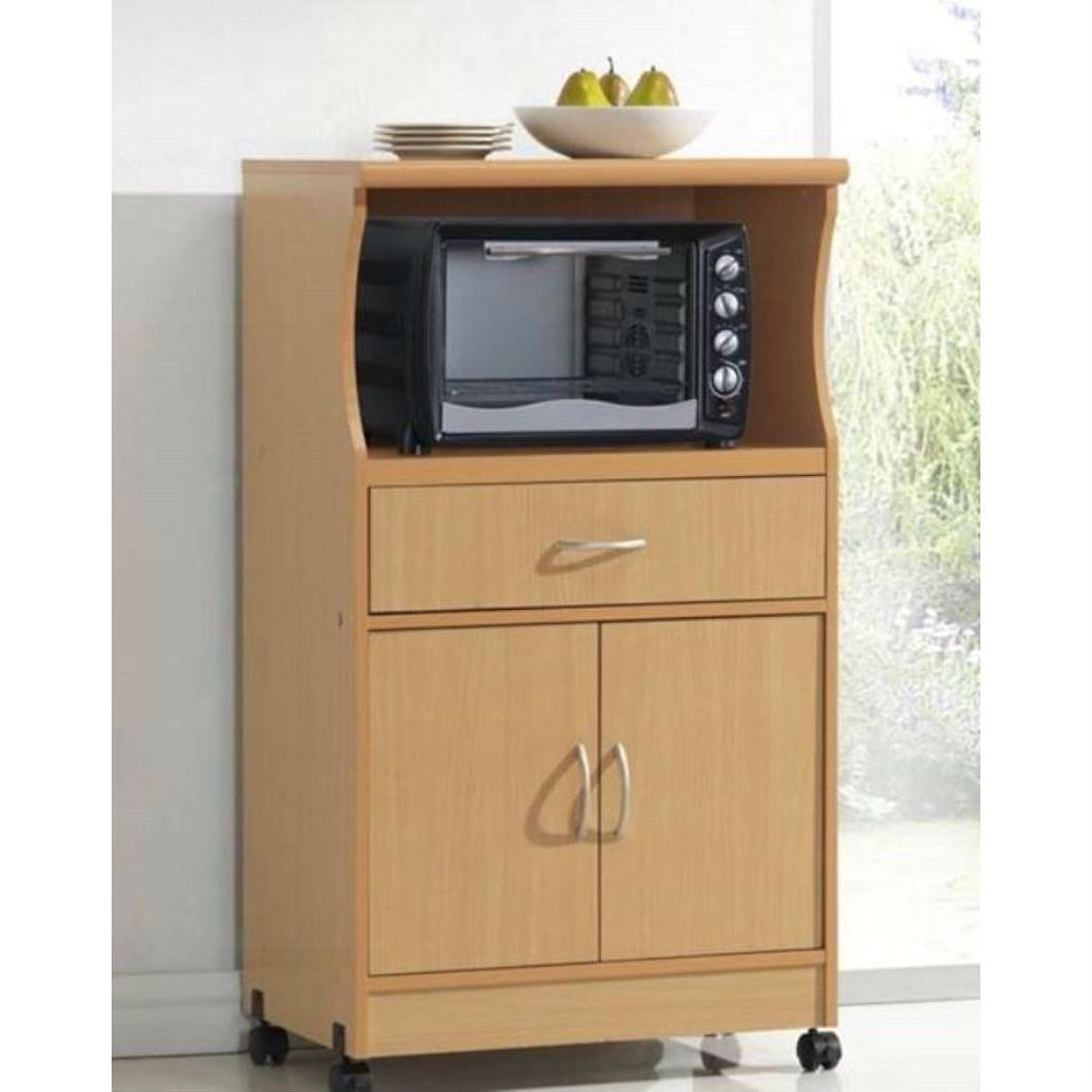 microwave kitchen cart long table beech wood cabinet with wheels and