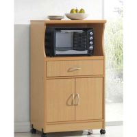 Beech Wood Microwave Cart Kitchen Cabinet with Wheels and ...