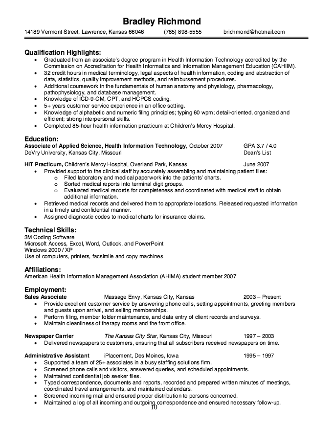 Health Information Technology Resume Sample Resumesdesign