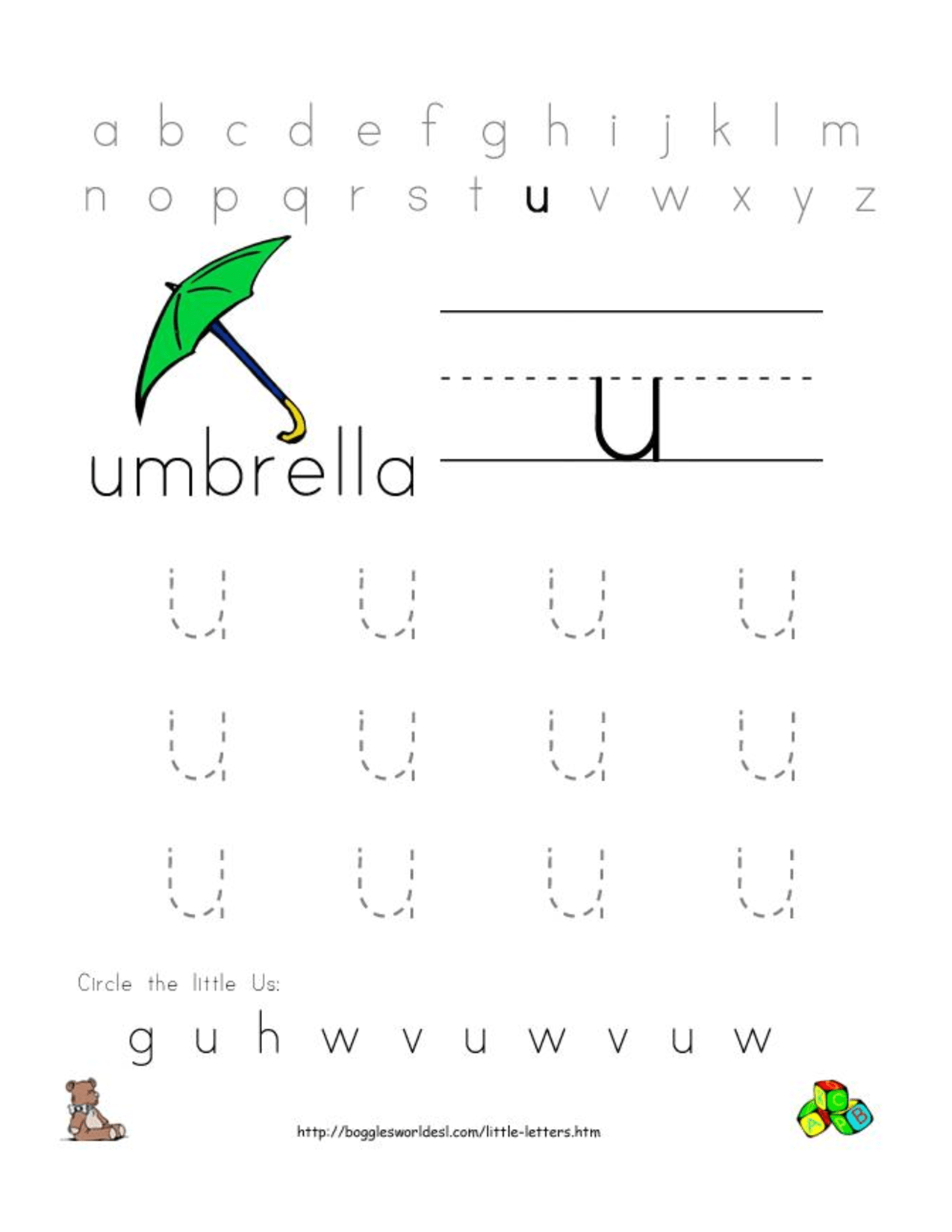 Alphabet Worksheets For Preschoolers Alphabet Worksheet Little Letter U