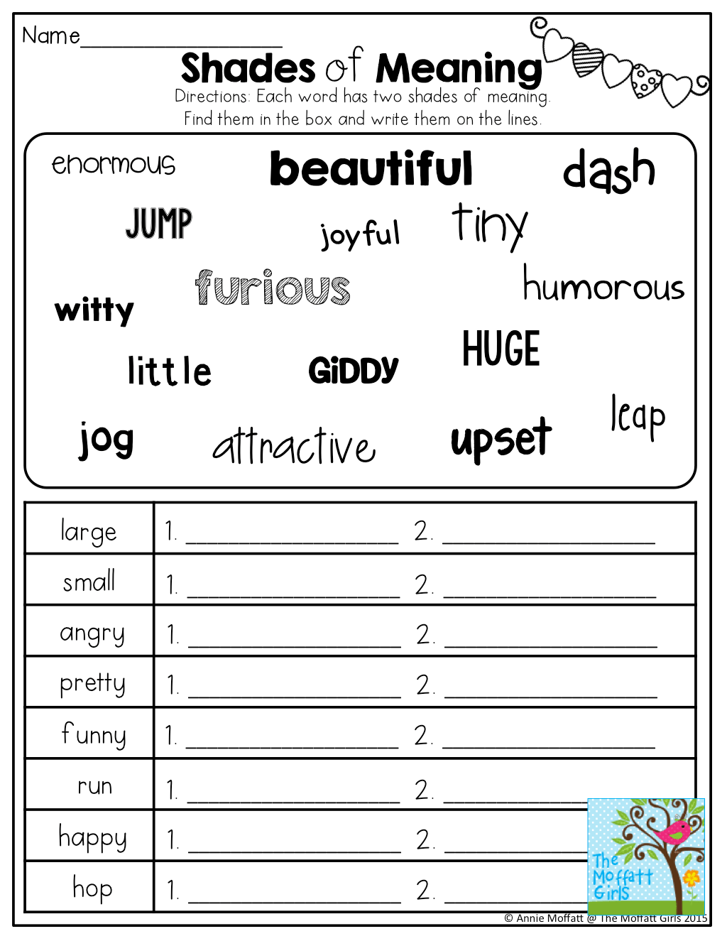 Shades Of Meaning Tons Of Other Great Printables