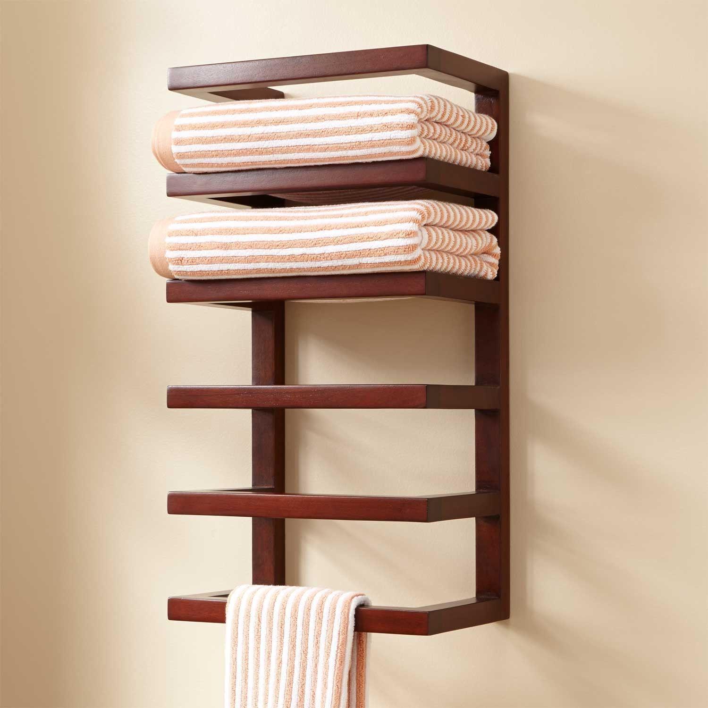 Mahogany Hanging Towel Rack  Towel Holders  Bathroom