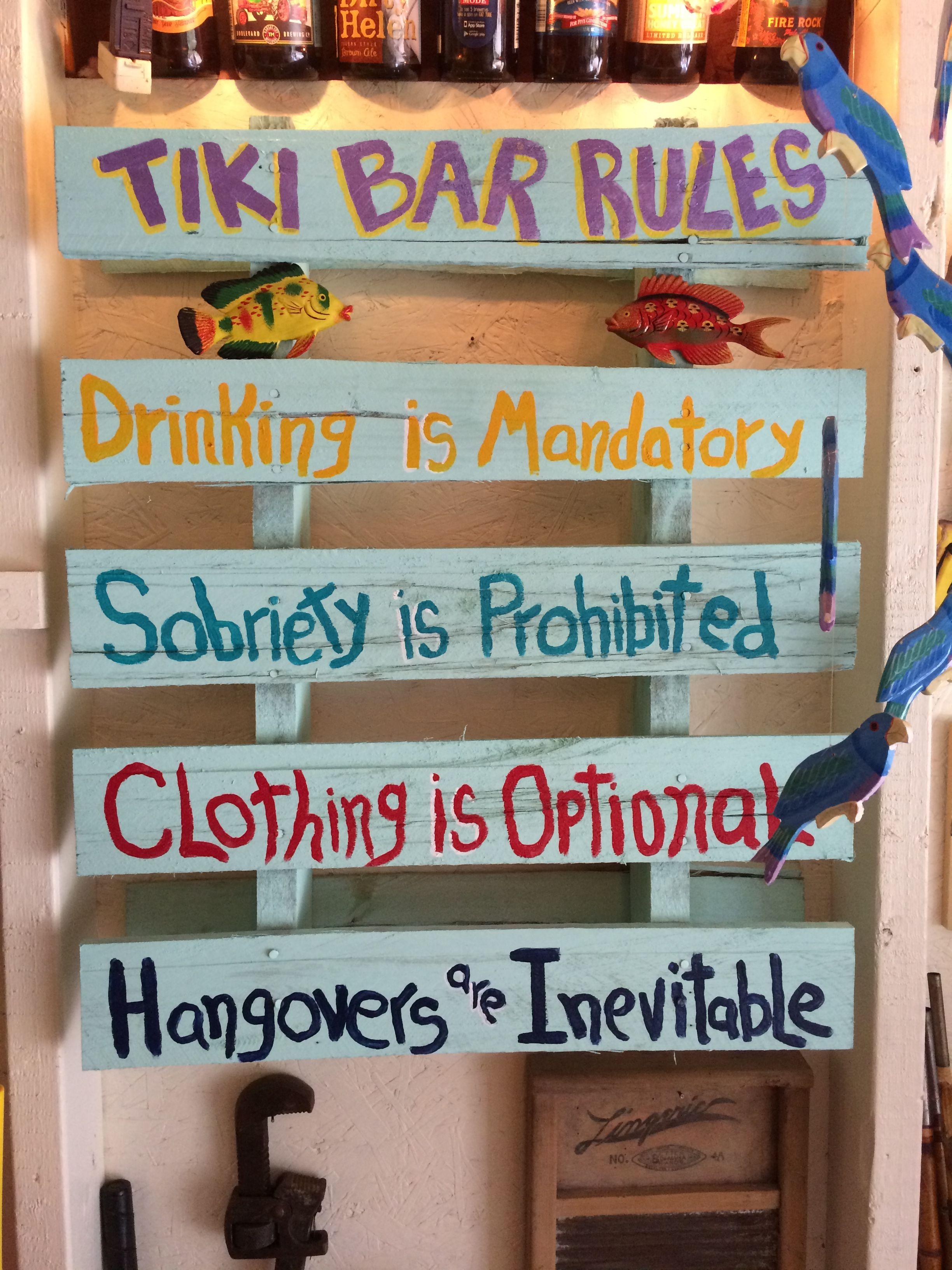 New sign in the tiki bar  tiki bar  Pinterest  Garten terrasse Geburtstagspartys und Cocktails