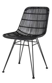 HK-living Dining chair black metal / rattan 80x44x57cm ...