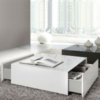 Drawing of Wide Designs of White Coffee Table with Storage ...