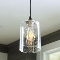 Recessed Can Light Adapter with Seeded Glass Pendant Shade ...