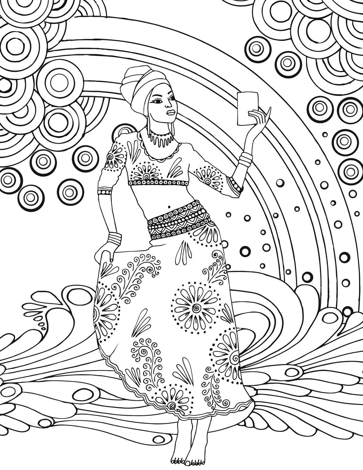 African Goddess Adult Colouring Page Printable By