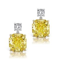 Cushion cut radiant yellow diamond drop earrings ...