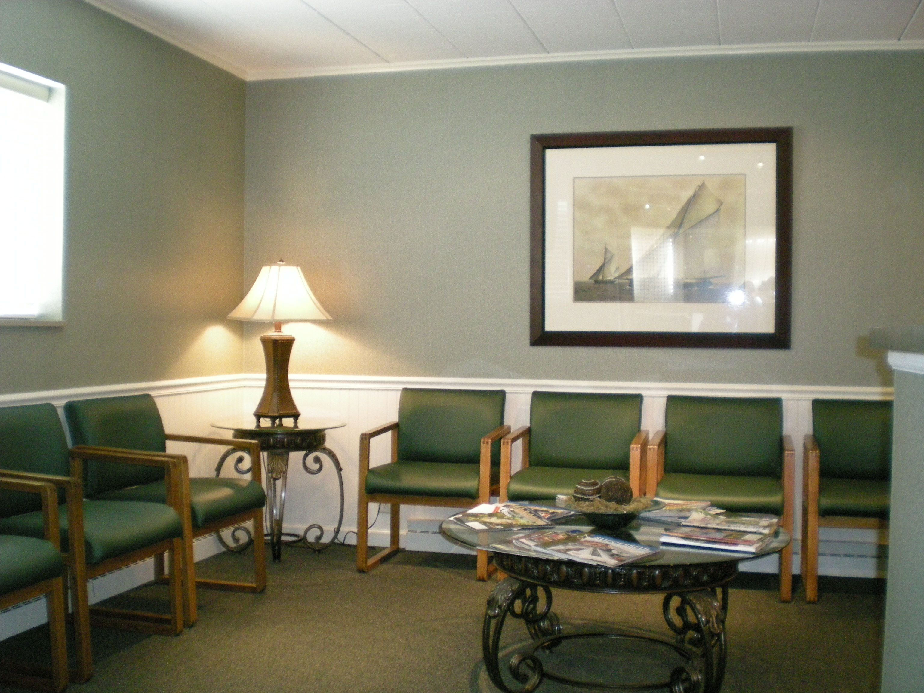 Waiting Room interior design with green chairs  Ideas for