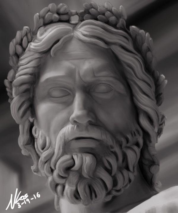 Result Zeus Statue Head Scuplture
