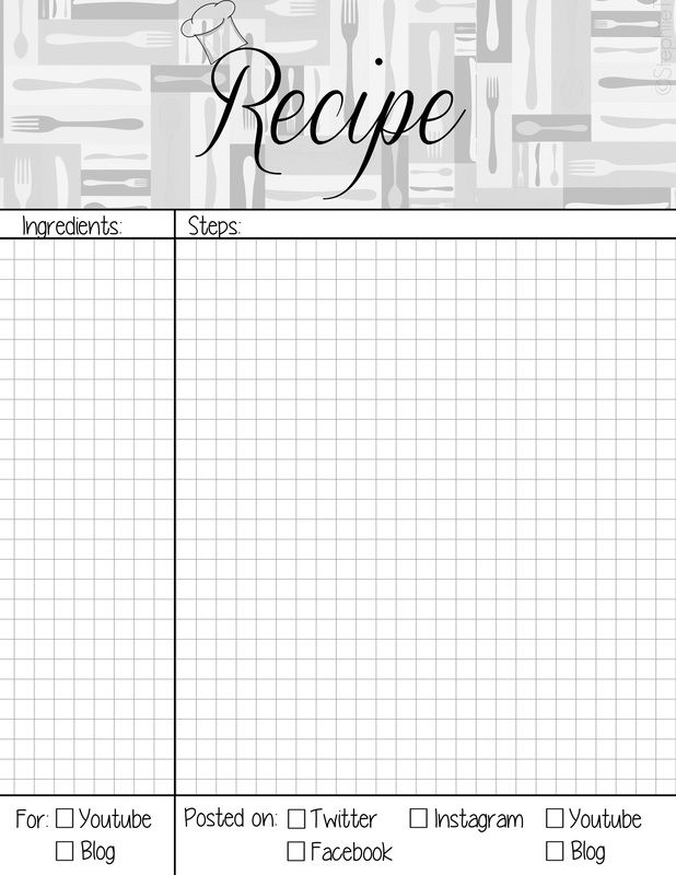 recipe book page planner agenda weekly template free