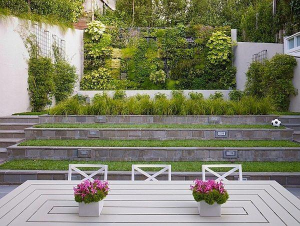 Garden Design Ideas Vertical Wall Terrace Levels Outdoor Furniture